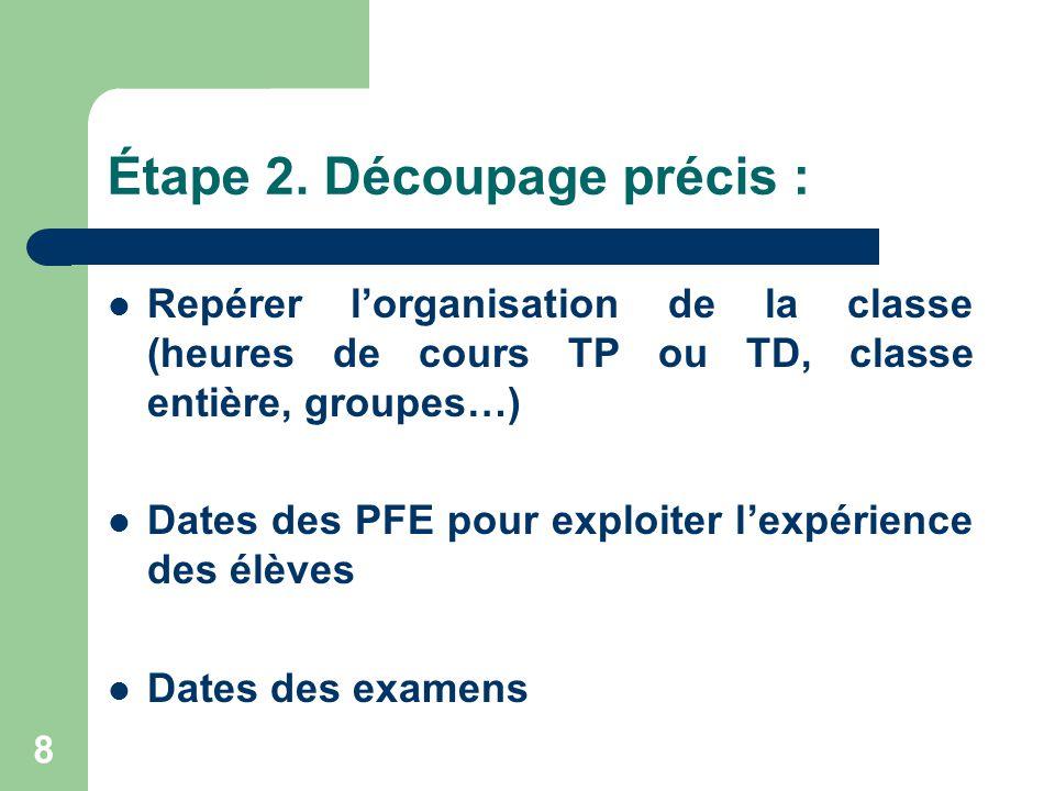 8 Étape 2. Découpage précis :  Repérer l'organisation de la classe (heures de cours TP ou TD, classe entière, groupes…)  Dates des PFE pour exploite