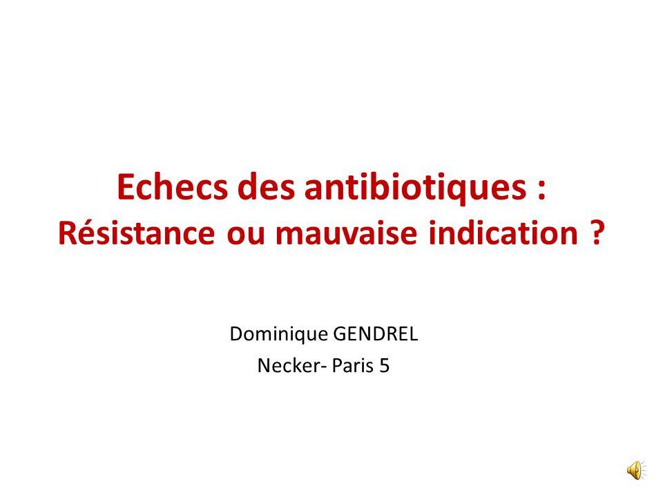 Echecs des antibiotiques : Résistance ou mauvaise indication ? Dominique GENDREL Necker- Paris 5