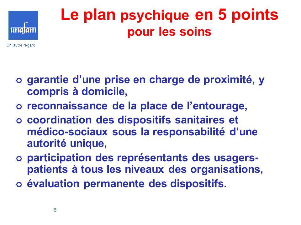 Un autre regard 6 Le plan psychique en 5 points pour les soins garantie d'une prise en charge de proximité, y compris à domicile, reconnaissance de la
