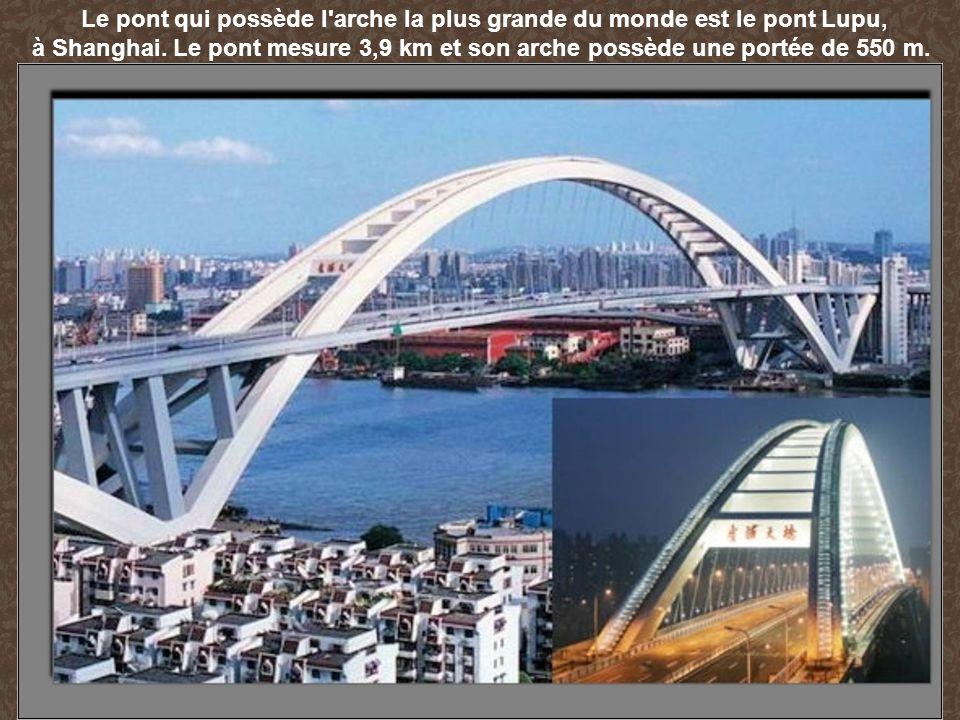 Le pont qui possède l'arche la plus grande du monde est le pont Lupu, à Shanghai. Le pont mesure 3,9 km et son arche possède une portée de 550 m.