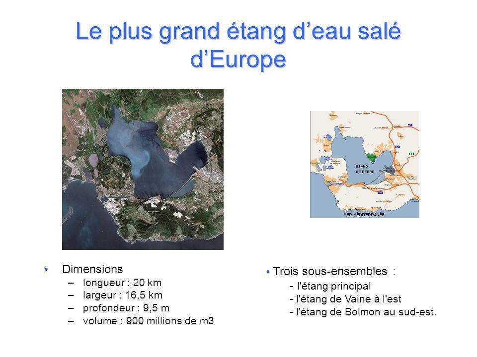 Le plus grand étang d'eau salé d'Europe •Dimensions –longueur : 20 km –largeur : 16,5 km –profondeur : 9,5 m –volume : 900 millions de m3 • Trois sous-ensembles : - l étang principal - l étang de Vaine à l est - l étang de Bolmon au sud-est.