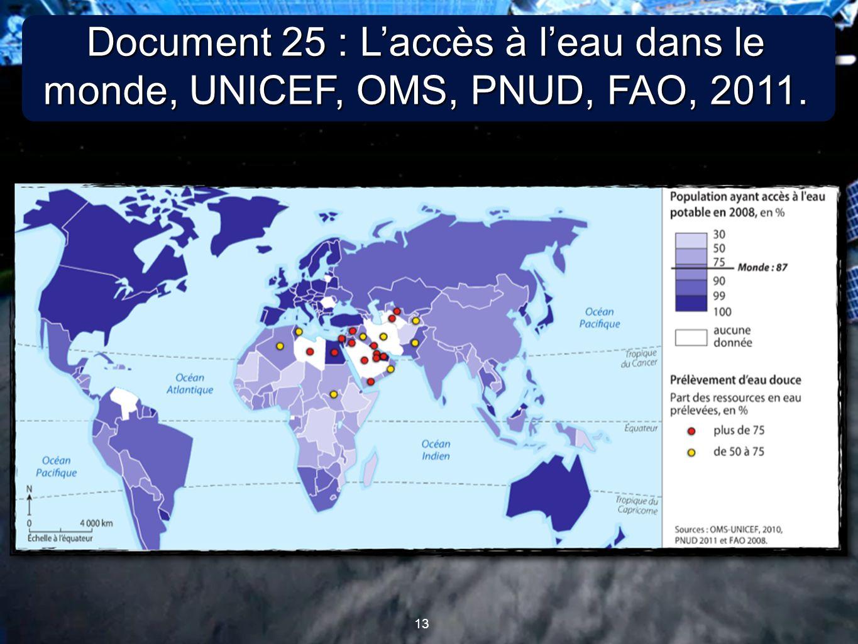 13 Document 25 : L'accès à l'eau dans le monde, UNICEF, OMS, PNUD, FAO, 2011.
