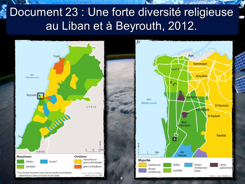 4 4 Document 23 : Une forte diversité religieuse au Liban et à Beyrouth, 2012.