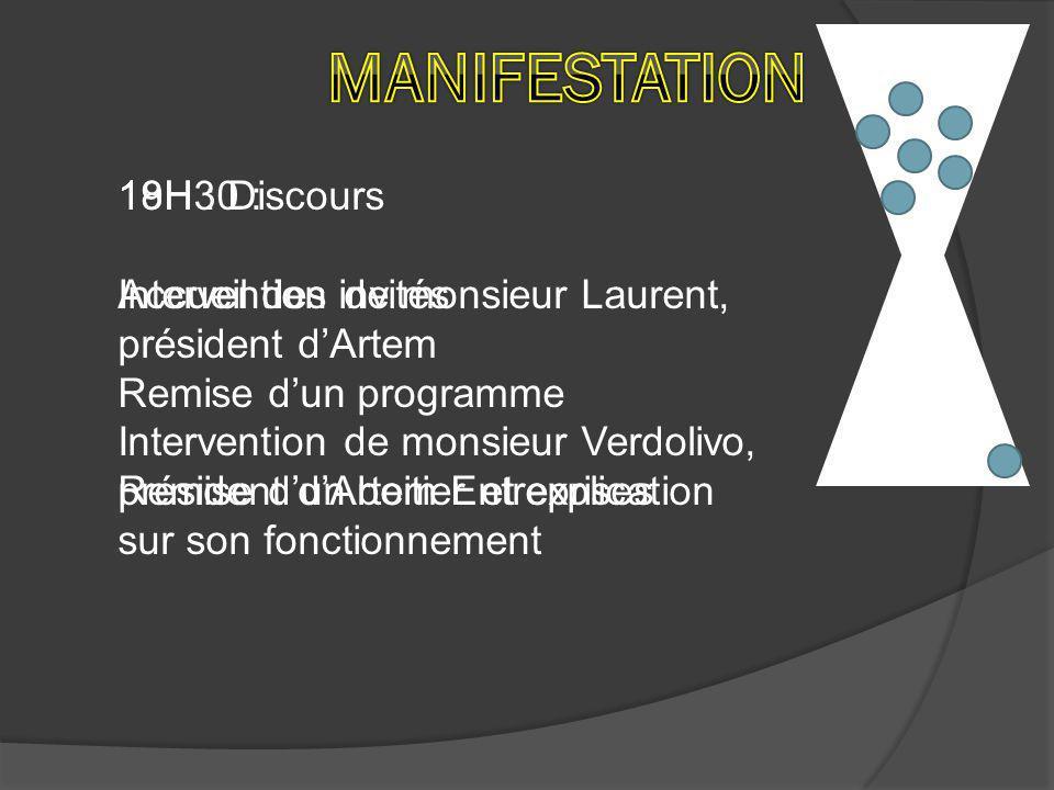 19H10 : Présentation du challenge par le parrain de l'évènement, monsieur Michelin 19H : Discours Intervention de monsieur Laurent, président d'Artem Intervention de monsieur Verdolivo, président d'Artem Entreprises