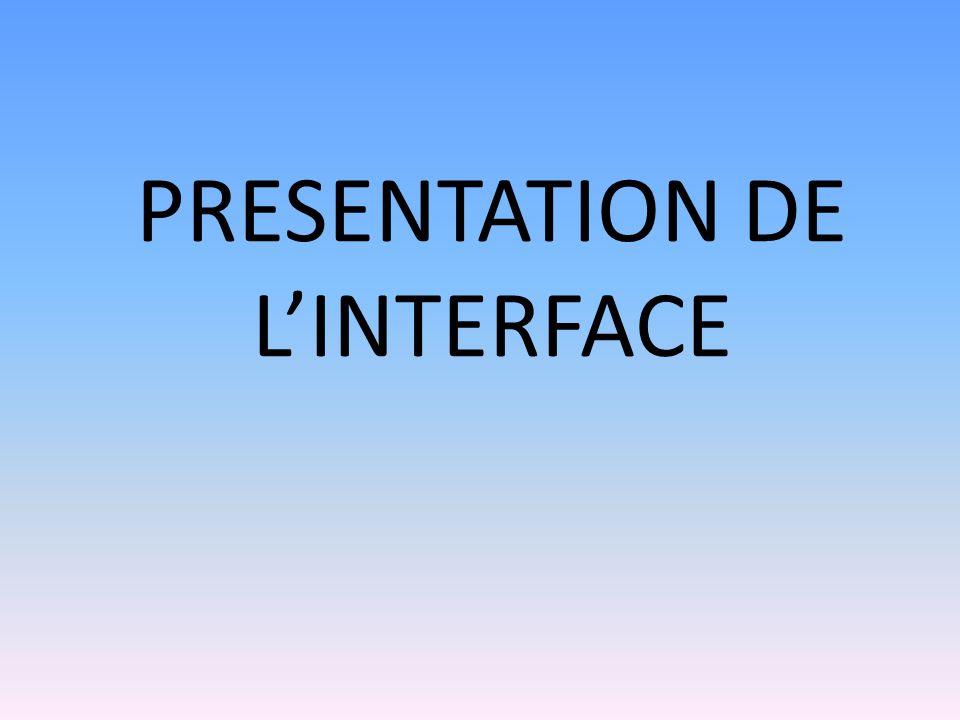 PRESENTATION DE L'INTERFACE