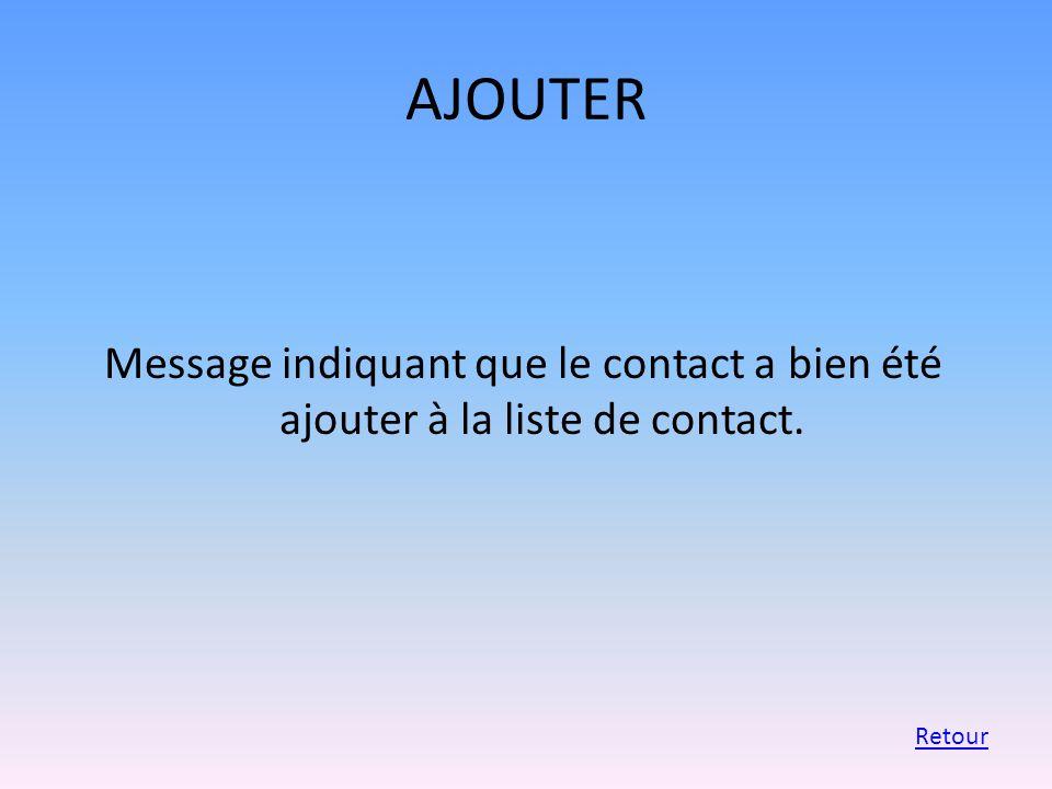 AJOUTER Message indiquant que le contact a bien été ajouter à la liste de contact. Retour
