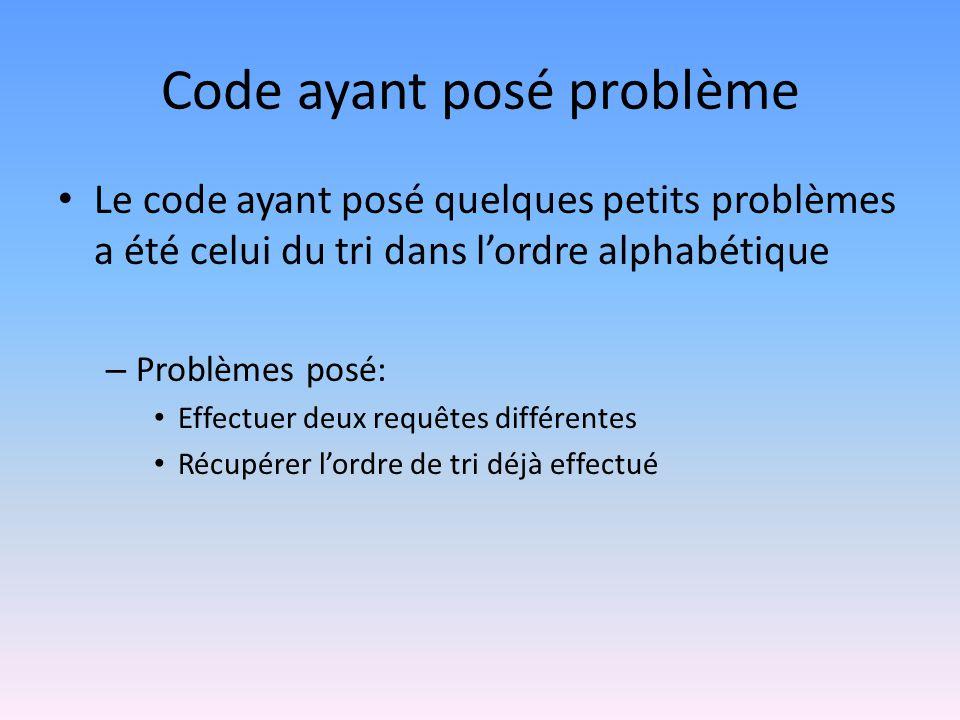 Code ayant posé problème • Le code ayant posé quelques petits problèmes a été celui du tri dans l'ordre alphabétique – Problèmes posé: • Effectuer deu