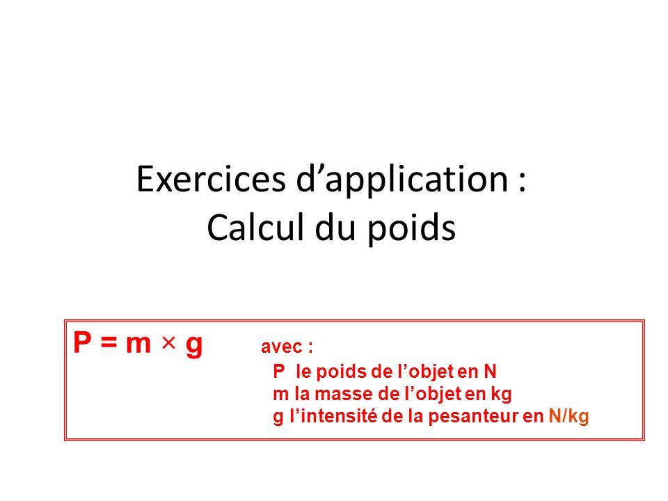 Exercices d'application : Calcul du poids P = m × g avec : P le poids de l'objet en N m la masse de l'objet en kg g l'intensité de la pesanteur en N/k
