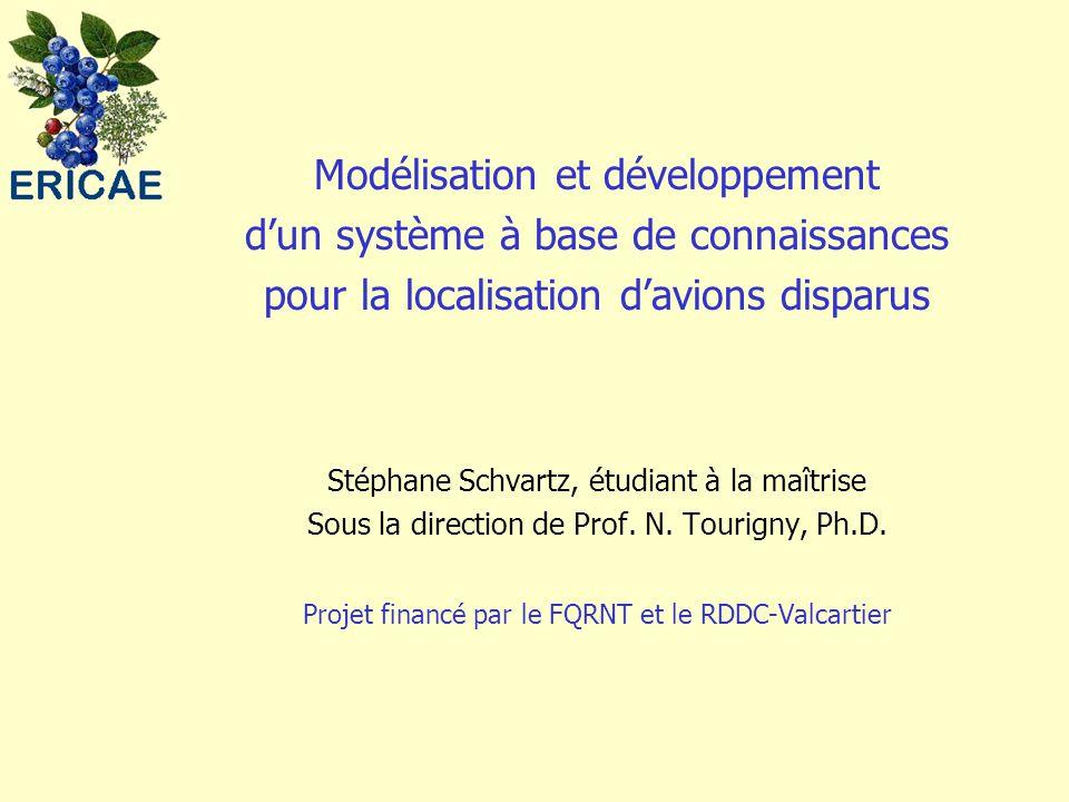 Modélisation et développement d'un système à base de connaissances pour la localisation d'avions disparus Stéphane Schvartz, étudiant à la maîtrise Sous la direction de Prof.