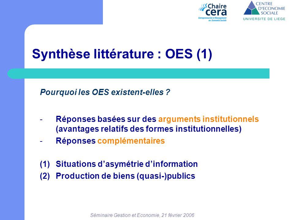 Séminaire Gestion et Economie, 21 février 2006 Synthèse littérature : OES (1) Pourquoi les OES existent-elles ? -Réponses basées sur des arguments ins