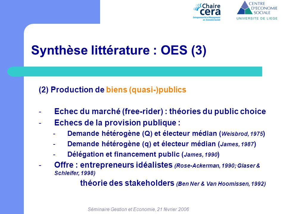 Séminaire Gestion et Economie, 21 février 2006 Synthèse littérature : OES (3) (2) Production de biens (quasi-)publics -Echec du marché (free-rider) :