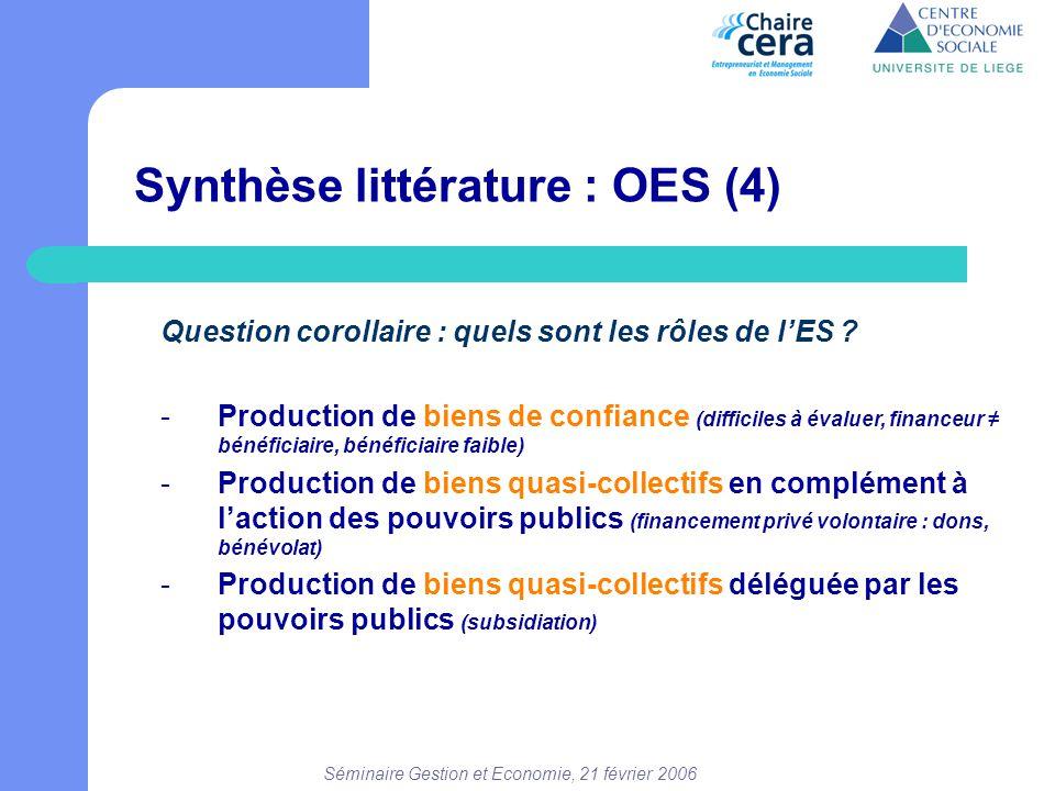 Séminaire Gestion et Economie, 21 février 2006 Synthèse littérature : OES (4) Question corollaire : quels sont les rôles de l'ES ? -Production de bien