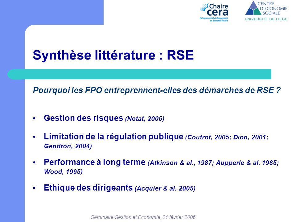 Séminaire Gestion et Economie, 21 février 2006 Synthèse littérature : RSE Pourquoi les FPO entreprennent-elles des démarches de RSE ? • Gestion des ri