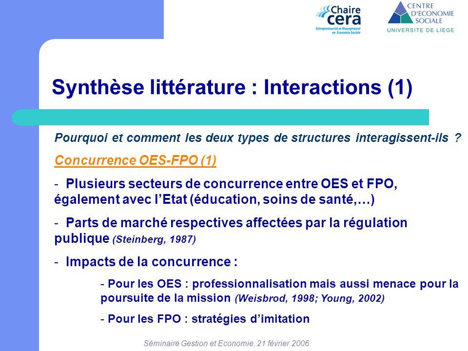 Séminaire Gestion et Economie, 21 février 2006 Synthèse littérature : Interactions (1) Pourquoi et comment les deux types de structures interagissent-