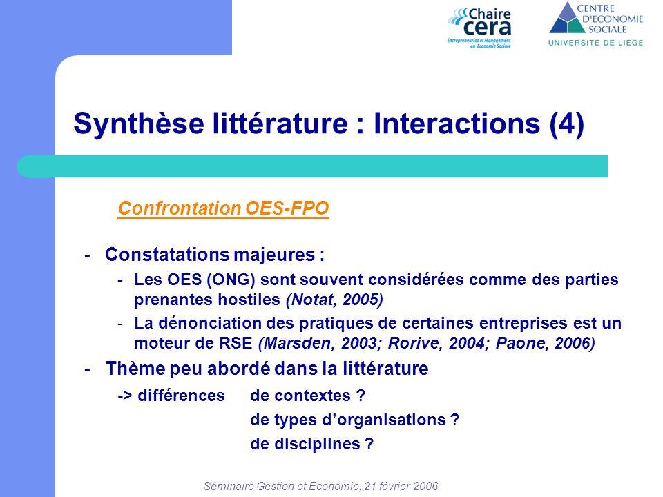 Séminaire Gestion et Economie, 21 février 2006 Confrontation OES-FPO -Constatations majeures : -Les OES (ONG) sont souvent considérées comme des parti