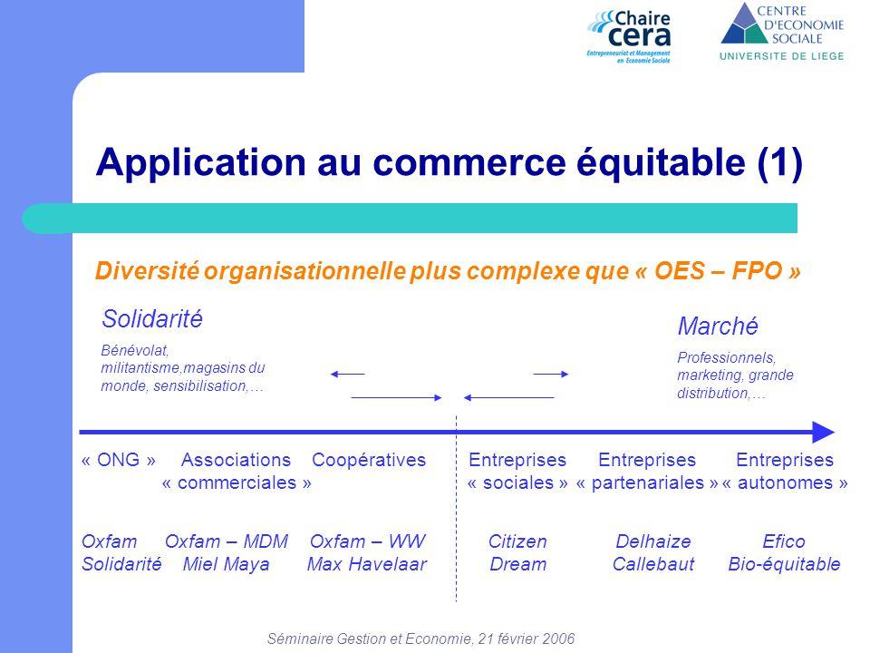 Séminaire Gestion et Economie, 21 février 2006 Application au commerce équitable (1) Diversité organisationnelle plus complexe que « OES – FPO » Solid