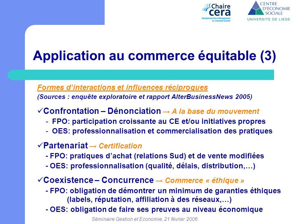 Séminaire Gestion et Economie, 21 février 2006 Application au commerce équitable (3) Formes d'interactions et influences réciproques (Sources : enquêt