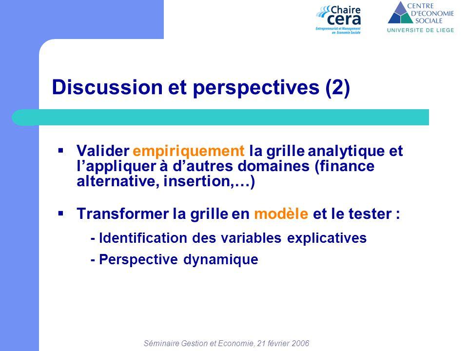 Séminaire Gestion et Economie, 21 février 2006 Discussion et perspectives (2)  Valider empiriquement la grille analytique et l'appliquer à d'autres d