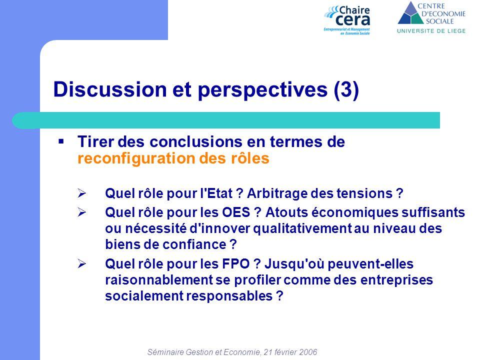 Séminaire Gestion et Economie, 21 février 2006 Discussion et perspectives (3)  Tirer des conclusions en termes de reconfiguration des rôles  Quel rô