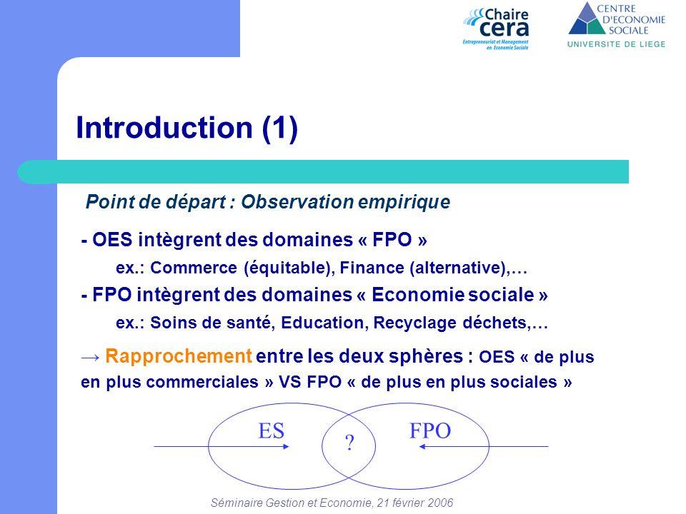 Séminaire Gestion et Economie, 21 février 2006 Introduction (1) - OES intègrent des domaines « FPO » ex.: Commerce (équitable), Finance (alternative),