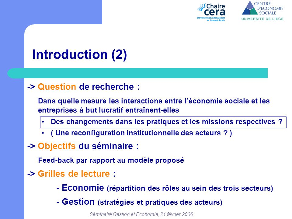 Séminaire Gestion et Economie, 21 février 2006 Introduction (2) -> Question de recherche : Dans quelle mesure les interactions entre l'économie social