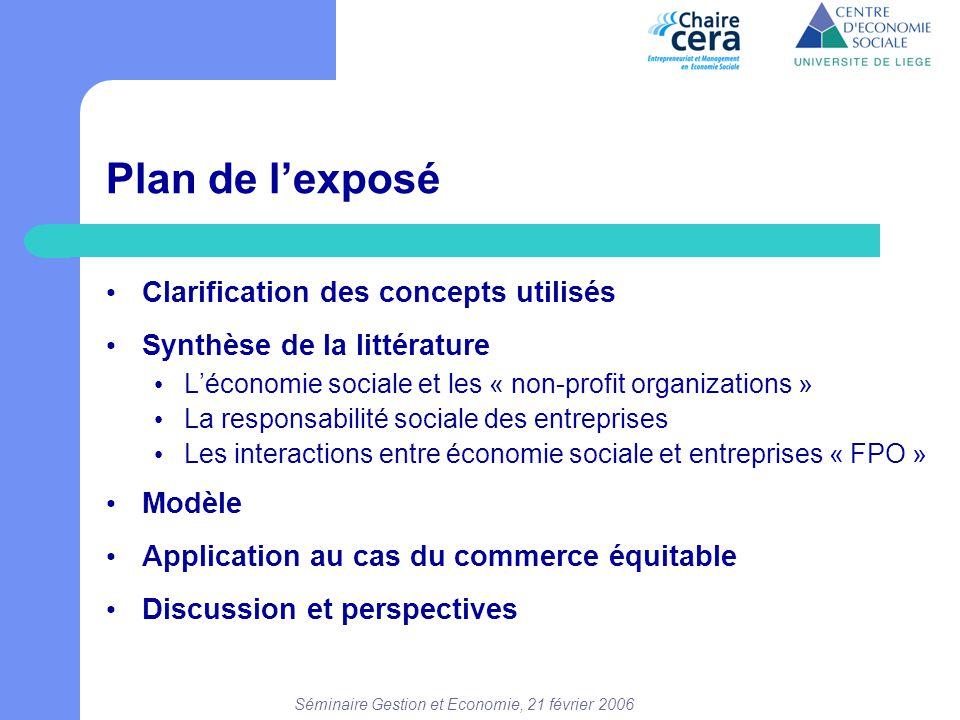 Séminaire Gestion et Economie, 21 février 2006 Plan de l'exposé • Clarification des concepts utilisés • Synthèse de la littérature • L'économie social