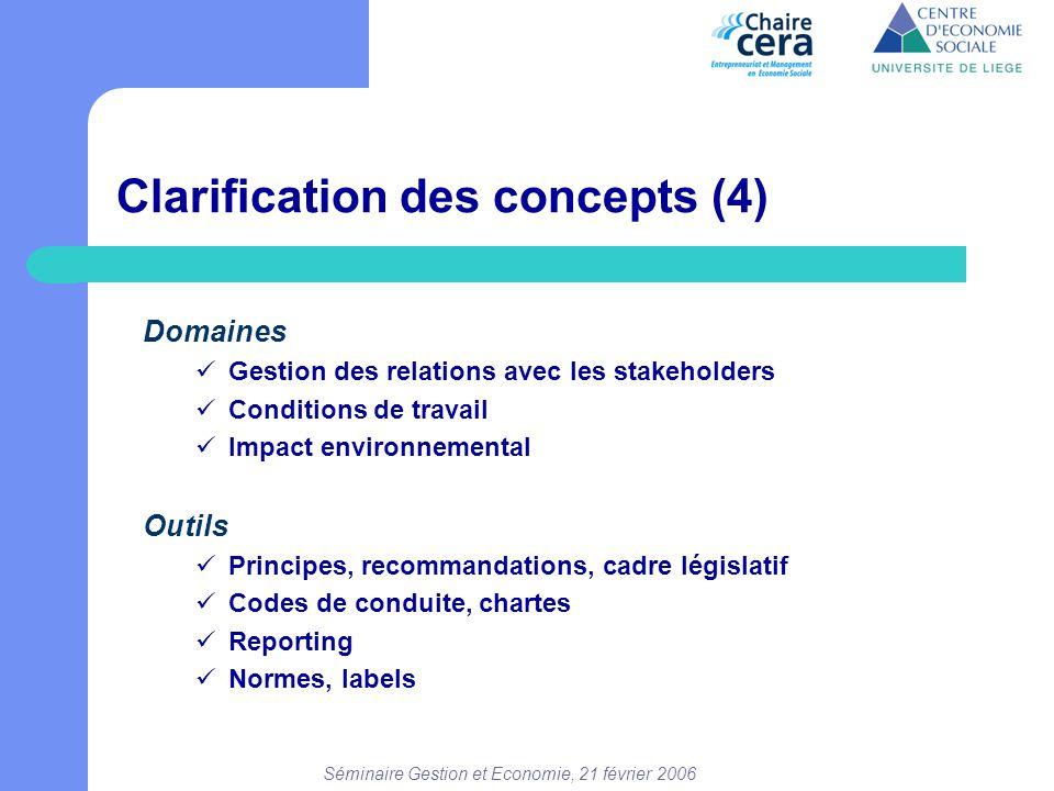 Séminaire Gestion et Economie, 21 février 2006 Clarification des concepts (4) Domaines  Gestion des relations avec les stakeholders  Conditions de t