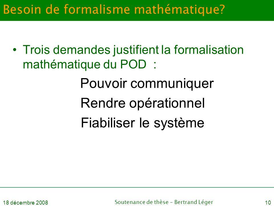18 décembre 2008Soutenance de thèse - Bertrand Léger10 Besoin de formalisme mathématique? •Trois demandes justifient la formalisation mathématique du