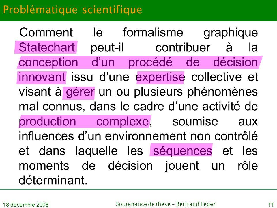 18 décembre 2008Soutenance de thèse - Bertrand Léger11 Problématique scientifique Comment le formalisme graphique Statechart peut-il contribuer à la c