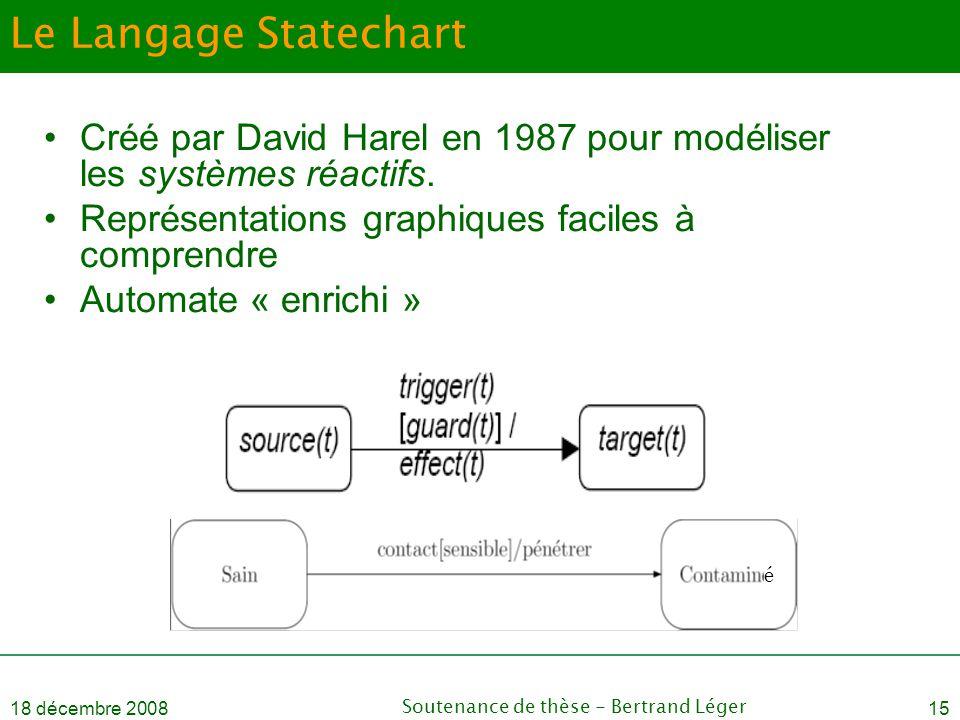18 décembre 2008Soutenance de thèse - Bertrand Léger15 Le Langage Statechart •Créé par David Harel en 1987 pour modéliser les systèmes réactifs. •Repr