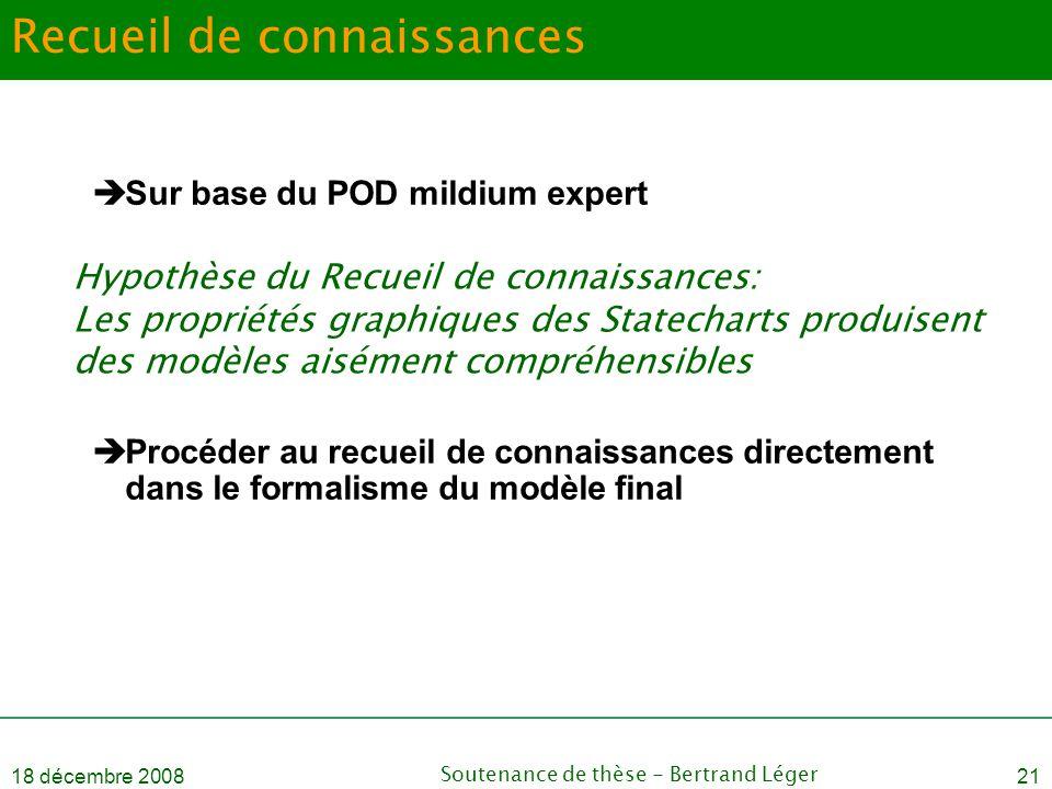 18 décembre 2008Soutenance de thèse - Bertrand Léger21 Recueil de connaissances  Sur base du POD mildium expert  Procéder au recueil de connaissance