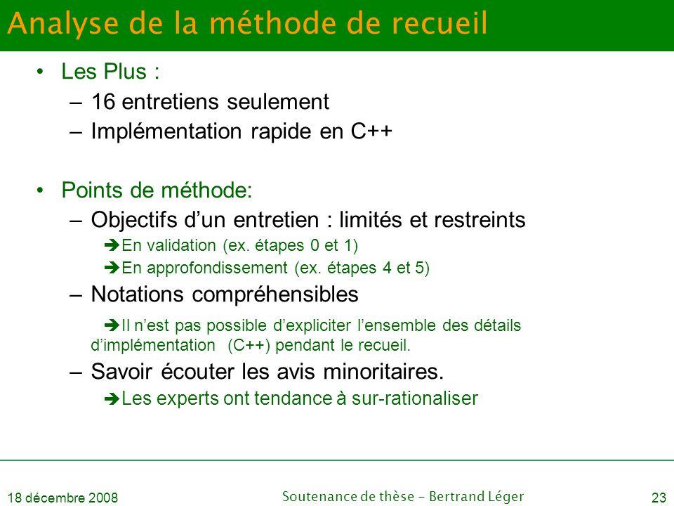 18 décembre 2008Soutenance de thèse - Bertrand Léger23 Analyse de la méthode de recueil •Les Plus : –16 entretiens seulement –Implémentation rapide en