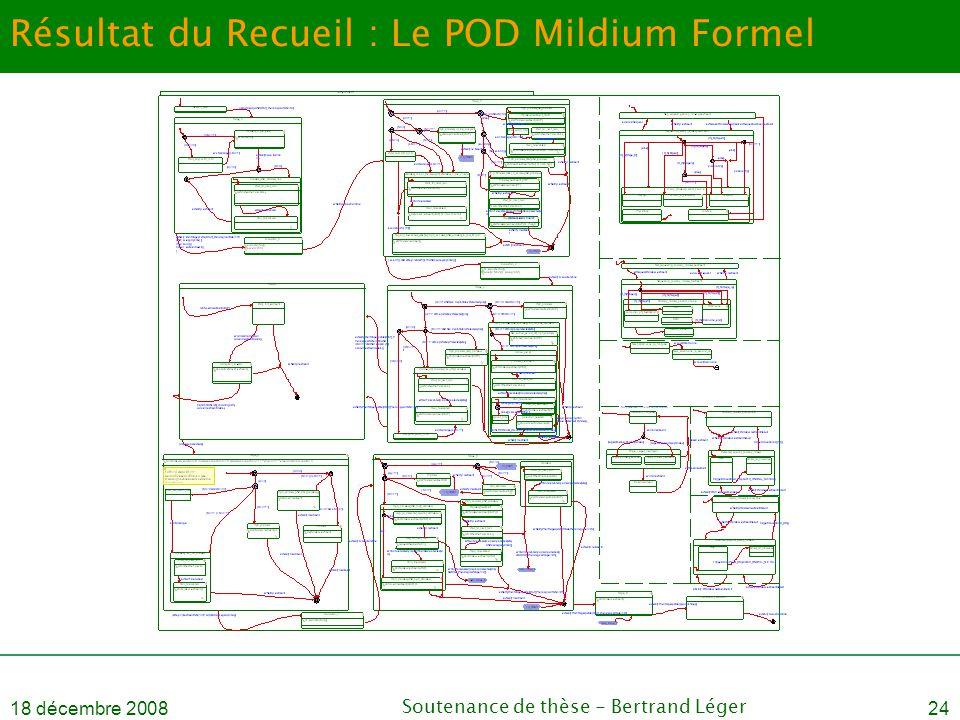 18 décembre 2008Soutenance de thèse - Bertrand Léger24 Résultat du Recueil : Le POD Mildium Formel