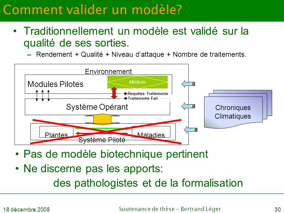 18 décembre 2008Soutenance de thèse - Bertrand Léger30 Comment valider un modèle? •Traditionnellement un modèle est validé sur la qualité de ses sorti