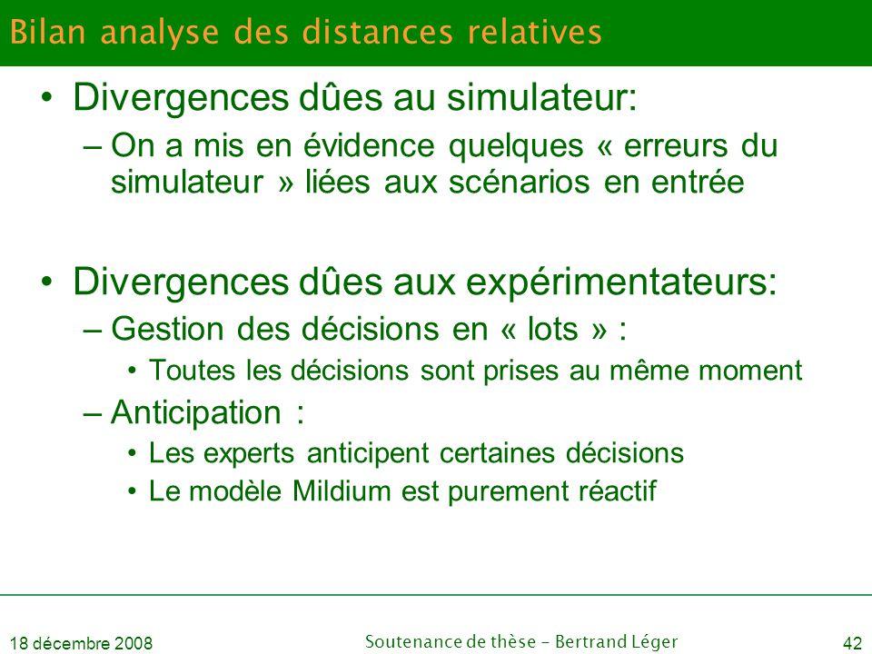 18 décembre 2008Soutenance de thèse - Bertrand Léger42 Bilan analyse des distances relatives •Divergences dûes au simulateur: –On a mis en évidence qu