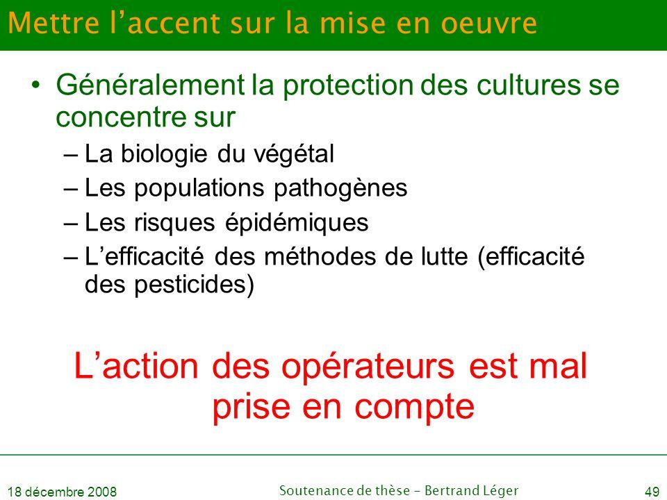 18 décembre 2008Soutenance de thèse - Bertrand Léger49 Mettre l'accent sur la mise en oeuvre •Généralement la protection des cultures se concentre sur