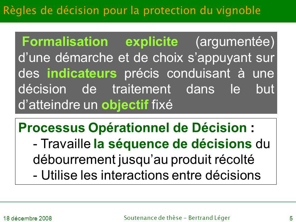 18 décembre 2008Soutenance de thèse - Bertrand Léger5 Règles de décision pour la protection du vignoble Formalisation explicite (argumentée) d'une dém
