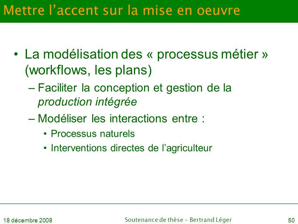 18 décembre 2008Soutenance de thèse - Bertrand Léger50 Mettre l'accent sur la mise en oeuvre •La modélisation des « processus métier » (workflows, les