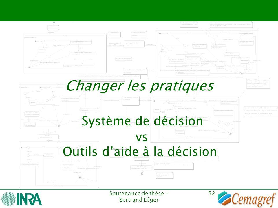 Soutenance de thèse - Bertrand Léger 52 Changer les pratiques Système de décision vs Outils d'aide à la décision