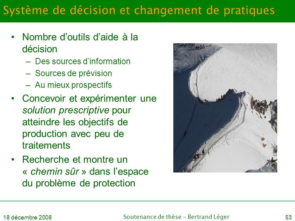18 décembre 2008Soutenance de thèse - Bertrand Léger53 Système de décision et changement de pratiques •Nombre d'outils d'aide à la décision –Des sourc
