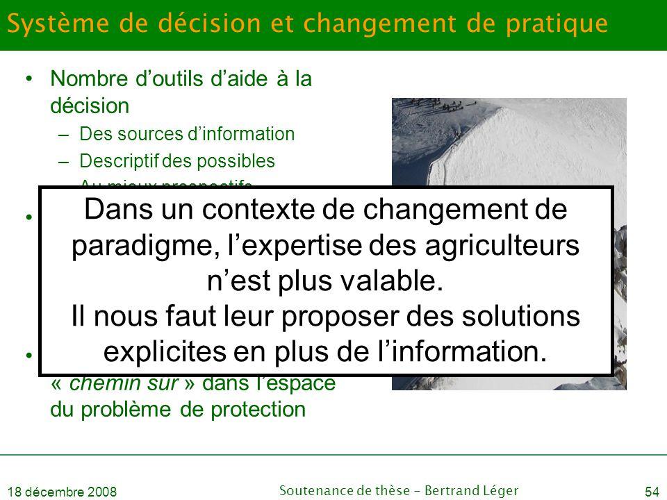 18 décembre 2008Soutenance de thèse - Bertrand Léger54 Système de décision et changement de pratique •Nombre d'outils d'aide à la décision –Des source