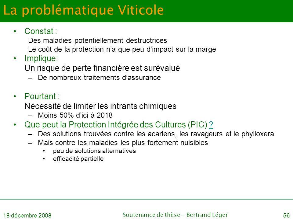18 décembre 2008Soutenance de thèse - Bertrand Léger56 La problématique Viticole •Constat : Des maladies potentiellement destructrices Le coût de la p