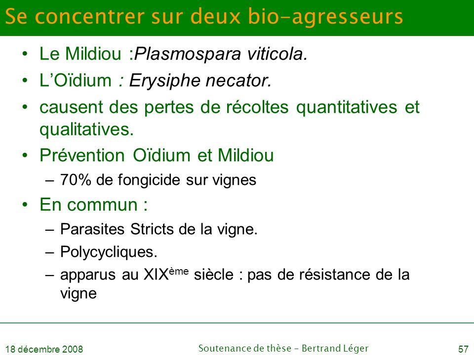18 décembre 2008Soutenance de thèse - Bertrand Léger57 Se concentrer sur deux bio-agresseurs •Le Mildiou :Plasmospara viticola. •L'Oïdium : Erysiphe n