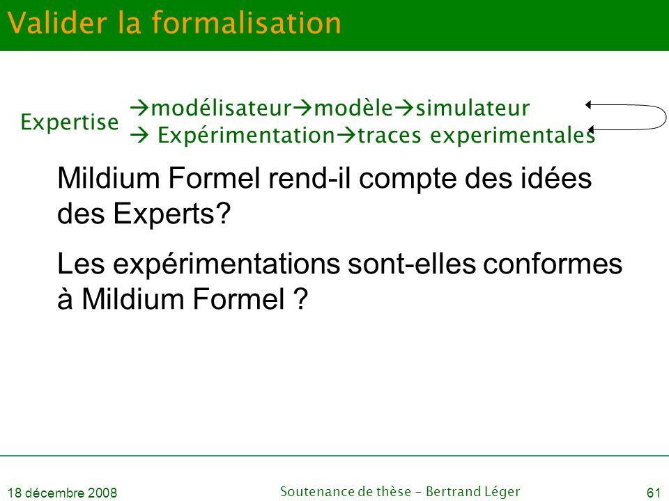 18 décembre 2008Soutenance de thèse - Bertrand Léger61 Valider la formalisation Mildium Formel rend-il compte des idées des Experts? Les expérimentati