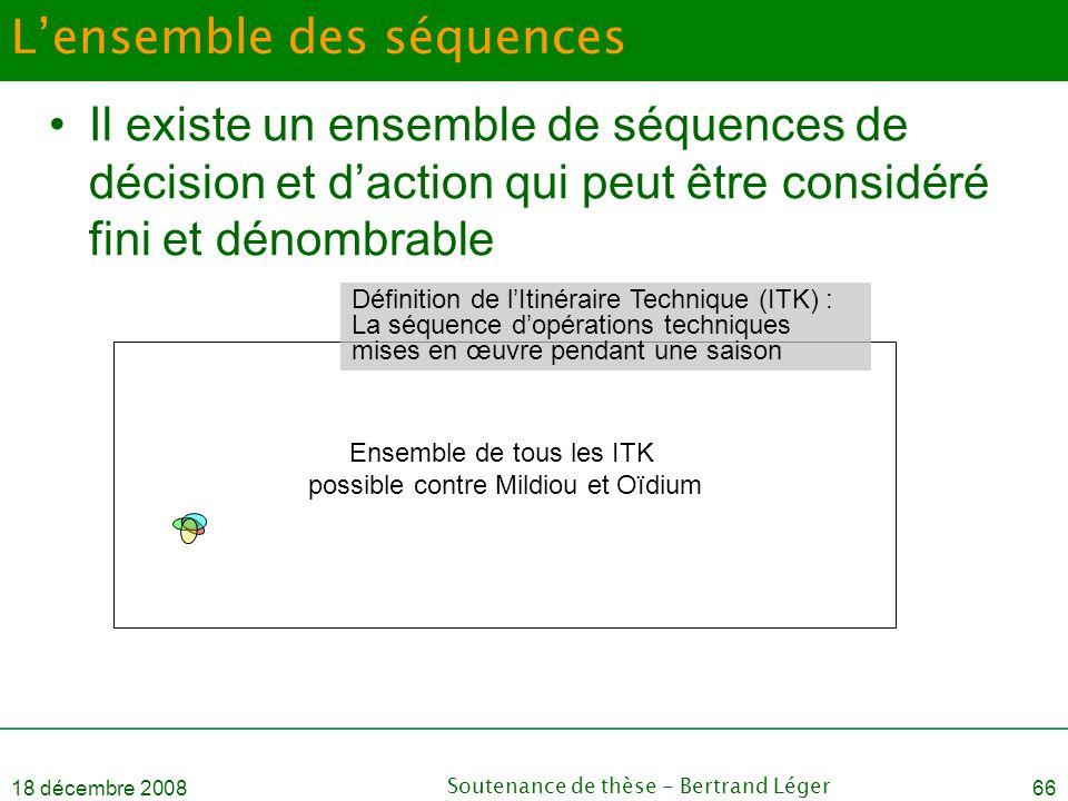 18 décembre 2008Soutenance de thèse - Bertrand Léger66 L'ensemble des séquences •Il existe un ensemble de séquences de décision et d'action qui peut ê