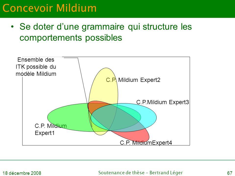 18 décembre 2008Soutenance de thèse - Bertrand Léger67 C.P. Mildium Expert1 C.P. Mildium Expert2 C.P. MildiumExpert4 Concevoir Mildium •Se doter d'une
