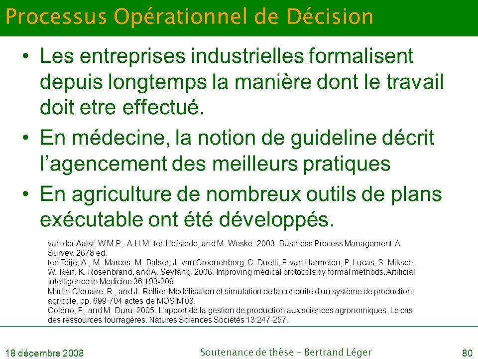 18 décembre 2008Soutenance de thèse - Bertrand Léger80 Processus Opérationnel de Décision •Les entreprises industrielles formalisent depuis longtemps