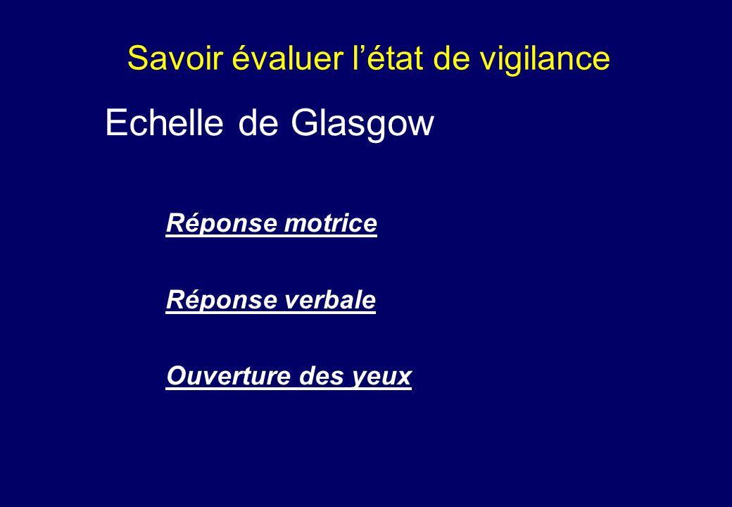 Savoir évaluer l'état de vigilance Echelle de Glasgow Réponse motrice Réponse verbale Ouverture des yeux