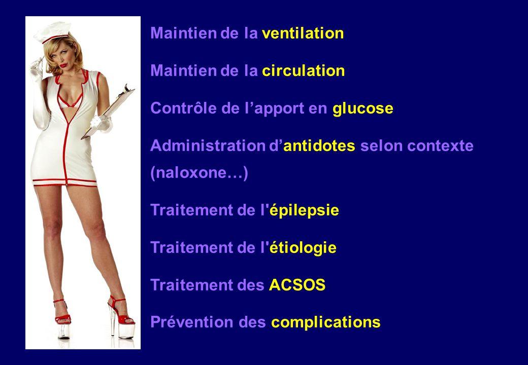 Maintien de la ventilation Maintien de la circulation Contrôle de l'apport en glucose Administration d'antidotes selon contexte (naloxone…) Traitement de l épilepsie Traitement de l étiologie Traitement des ACSOS Prévention des complications