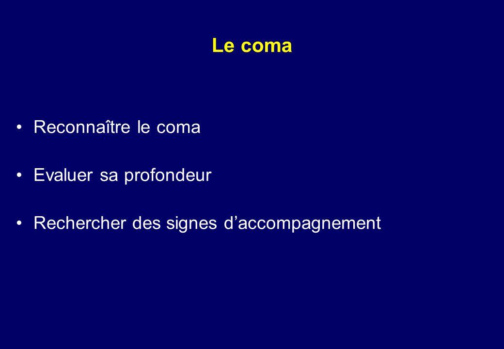 Diagnostic clinique d'un état de mort encéphalique Coma aréactif et mydriase aréactive Wijdicks EF.The diagnosis of brain death.